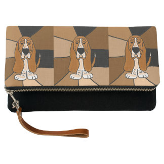 Cute Funny Basset Hound Dog Abstract Clutch Bag