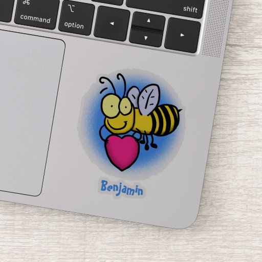 Cute funny bee with heart cartoon illustration sticker