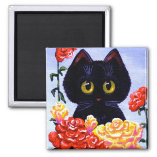 Cute Funny Black Cat Red Roses Creationarts art 2 Inch Square Magnet