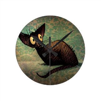 Cute Funny Black Oriental Cat Art Round Clock