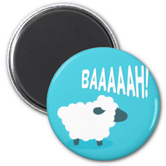 Cute funny blue cartoon bleating sheep 2 inch round magnet