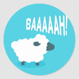 Cute funny blue cartoon bleating sheep classic round sticker