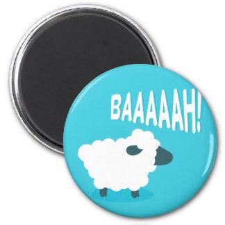 Cute funny blue cartoon bleating sheep magnet