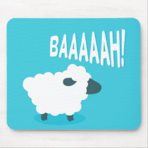 Cute funny blue cartoon bleating sheep mouse pad