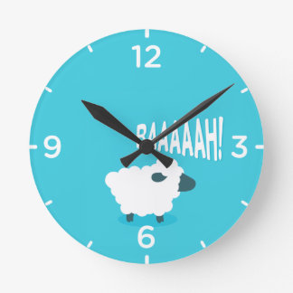 Cute funny blue cartoon bleating sheep round clock