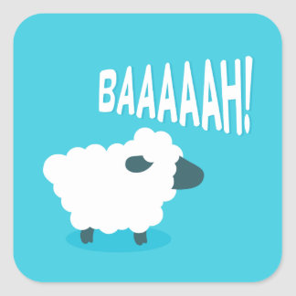 Cute funny blue cartoon bleating sheep square sticker