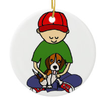 Cute Funny Boy with his Dog Cartoon Ceramic Ornament