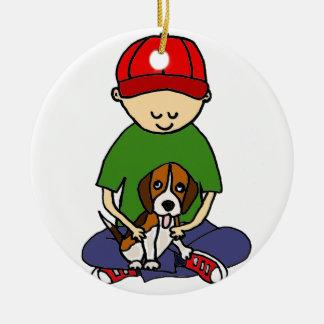 Cute Funny Boy with his Dog Cartoon Ceramic Ornament