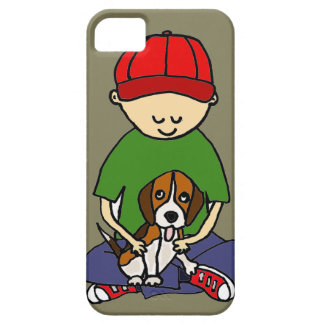 Cute Funny Boy with his Dog Cartoon iPhone SE/5/5s Case