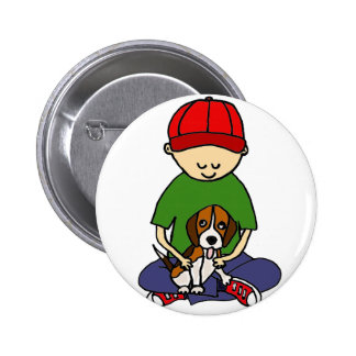 Cute Funny Boy with his Dog Cartoon Pinback Button