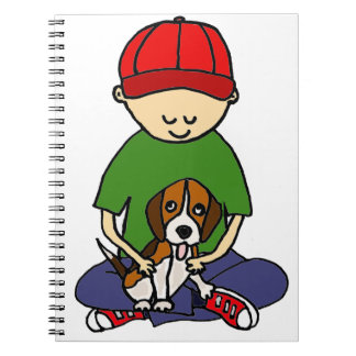 Cute Funny Boy with his Dog Cartoon Spiral Notebook