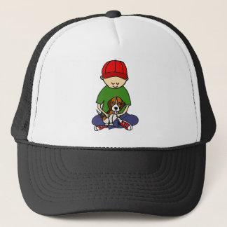Cute Funny Boy with his Dog Cartoon Trucker Hat