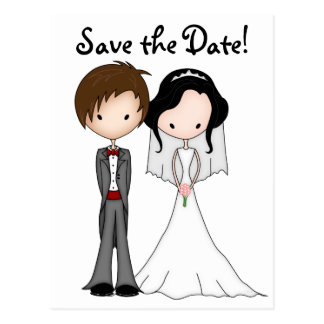 Cute, Funny Bride and Groom Cartoon Save the Date Postcard