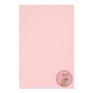 CUTE FUNNY BROWN PINK BUNNY CARTOON PETS ANIMALS H STATIONERY