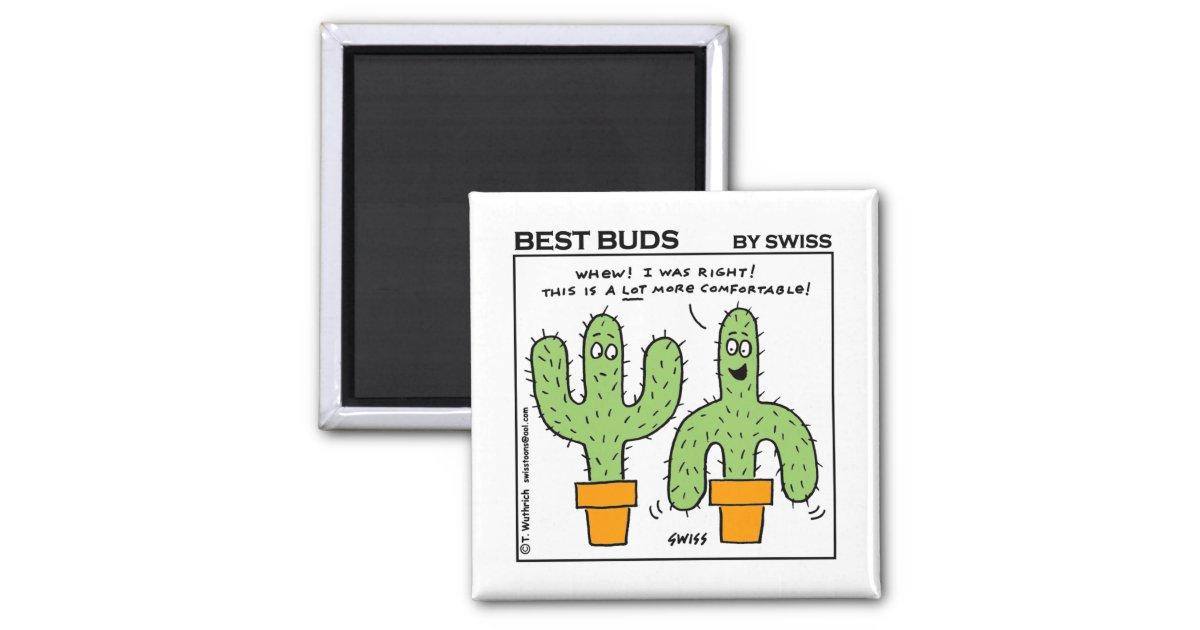 Cute Funny Cactus Best Buds Cartoon Magnet Zazzle Com