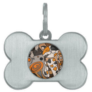 Cute Funny Calico Cat Playing Saxophone Art Pet ID Tag