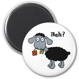 Cute Funny Cartoon Black Sheep Flower Customizable 2 Inch Round Magnet