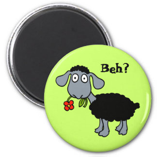 Cute Funny Cartoon Black Sheep with Flower 2 Inch Round Magnet