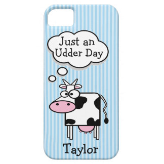 Cute Funny Cartoon Cow Personalized Blue Stripes iPhone SE/5/5s Case