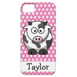 Cute Funny Cartoon Cow Personalized Pink Polka Dot iPhone SE/5/5s Case