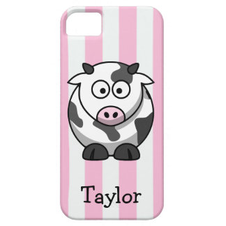 Cute Funny Cartoon Cow Personalized Pink Stripes iPhone SE/5/5s Case