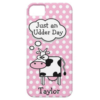 Cute Funny Cartoon Cow Personalized Polka Dots iPhone SE/5/5s Case