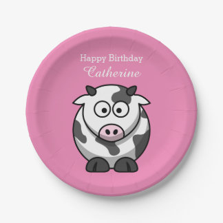 Cute Funny Cartoon Cow Pink Nose Custom Birthday Paper Plate