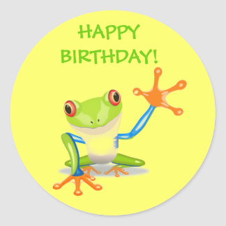 Cute Funny Cartoon Frog Kids Happy Birthday Party Classic Round Sticker