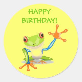 Cute Funny Cartoon Frog Kids Happy Birthday Party Classic Round Sticker