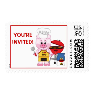 Cute Funny Cartoon Pig BBQ Party You're Invited Postage