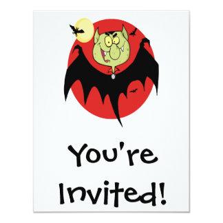 cute funny cartoon vampire bat character 4.25x5.5 paper invitation card