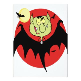 cute funny cartoon vampire bat character 6.5x8.75 paper invitation card