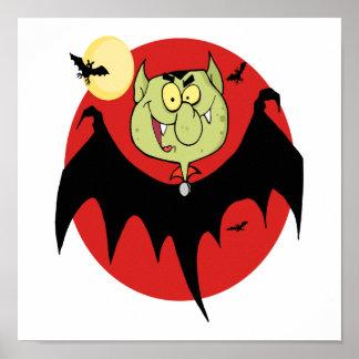 cute funny cartoon vampire bat character poster