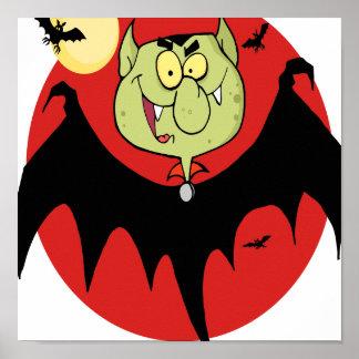 cute funny cartoon vampire bat character posters