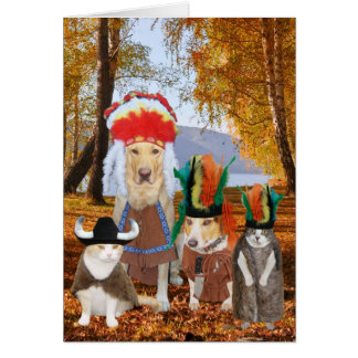 Cute/Funny Cat/Dog Indian Thanksgiving Greeting Card