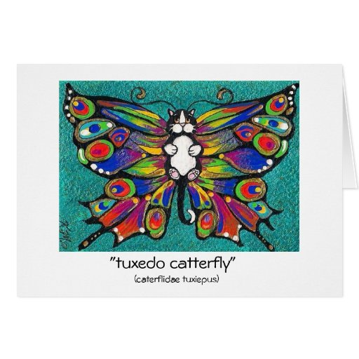 Cute Funny Catterfly Art CAT & Butterfly creature! Greeting Card