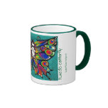 Cute Funny Catterfly Art CAT & Butterfly creature! Ringer Coffee Mug