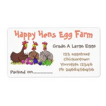 Cute funny chickens cartoon egg carton label