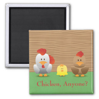 Cute Funny Chickens Cartoon Fridge Magnet