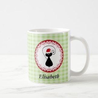 Cute funny Christmas cat gingham personalized Coffee Mug