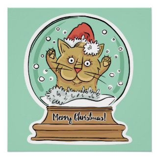 Cute Funny Christmas Cat poster