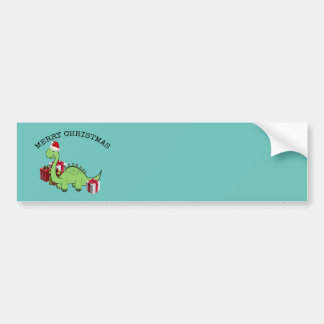 Cute funny  Christmas Santa dinosaur Bumper Sticker