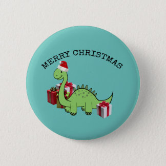 Cute funny  Christmas Santa dinosaur Pinback Button