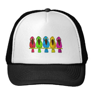 Cute Funny Colorful Birds Together Side by Side Trucker Hat