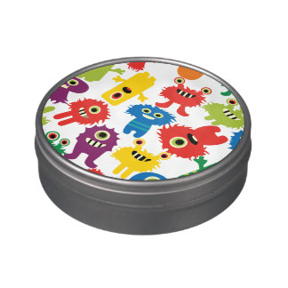 Cute Funny Colorful Monsters Pattern Jelly Belly Candy Tin