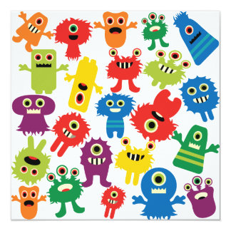 Cute Funny Colorful Monsters Pattern Invitation