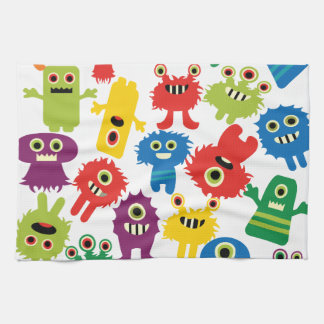 Cute Funny Colorful Monsters Pattern Kitchen Towel