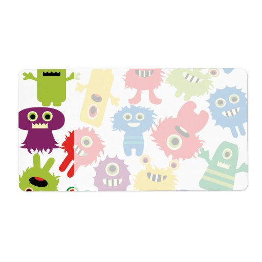 Cute Funny Colorful Monsters Pattern Custom Shipping Label
