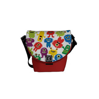 Cute Funny Colorful Monsters Pattern Messenger Bag