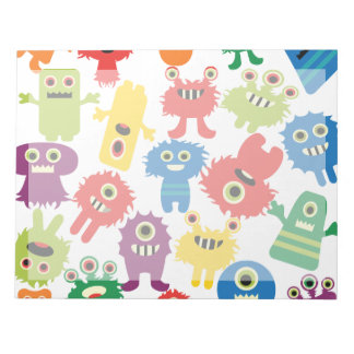Cute Funny Colorful Monsters Pattern Notepad